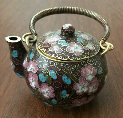 Chinese Brown Cloisonne Bronze Brass Copper Enamel Cherry Blossom Birds Teapot