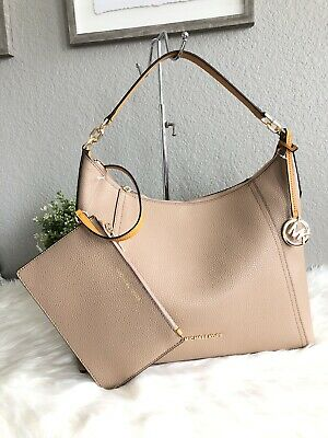88ac1cc2e23a Michael Kors Kimberly Studded Large Shoulder Tote Bag Hobo Khaki Marigold  $378