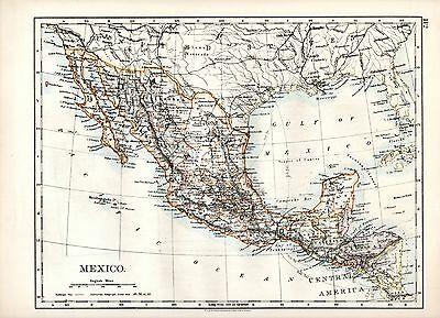 1904 Map ~ Mexico + (United States Of America Sw Central On Reverse)