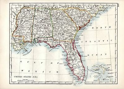 1904 Map ~ United States Of America South East (North East On Reverse)