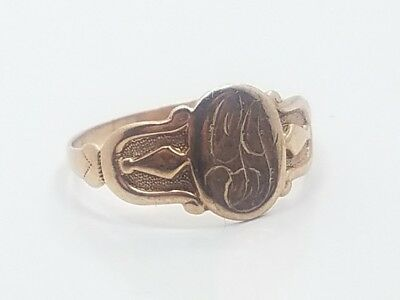 Beautiful Vintage Art Deco 10k Yellow Gold Seal Signet Ring Size 8
