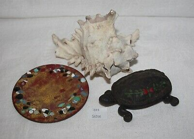 ThriftCHI ~ Wilton Metal Turtle Trinket Dish, Enamel on Copper Dish & Shell