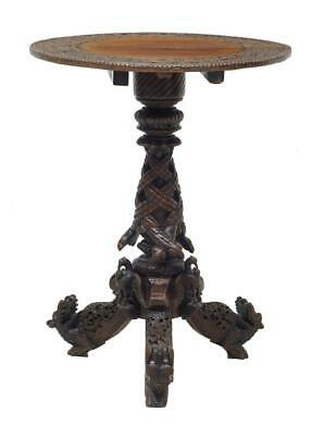 19Th Century Carved Anglo Indian Padouk Tilt Top Table