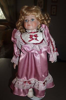 """Porcelain Doll Unbranded 18"""" Tall Beautiful Doll & Clothes Detailed Face Blonde"""