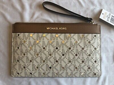 6638bd8657ed NWT Michael Kors Violet Jet Set Travel Large Perforated Clutch Vanilla/Pale  Gold