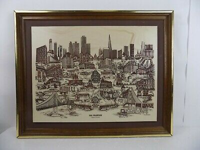 """Vintage San Francisco """"gateway To The Orient"""" Marble Engraving By D. Bivens 1975"""