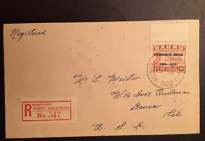 1935 KGVI Silver Jubilee Nauru Scott #34 nauru/Denver registered Cover
