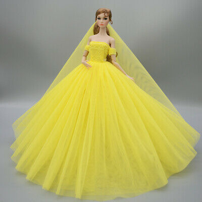 Fashion Party Princess Dress Wedding Clothes/Gown+veil For 11.5 inch Doll #32