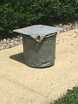 Antique Primitive Collectible Galvanized Maple Syrup Bucket w/Lid