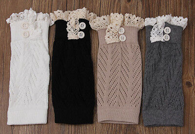7-color Women's Knitted Lace Trim Boot Cuffs Leg Warmer Socks with Buttons Pick