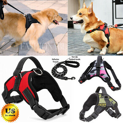 No Pull Adjustable Dog Pet Vest Harness Heavy Duty Nylon Medium/Large/XL & Leash