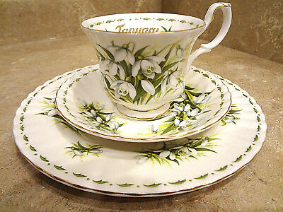 ROYAL ALBERT ~ Flower of the Month ~JANUARY~ Tea Cup & 2 Saucers & Plate
