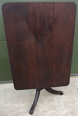 Antique Georgian Solid Oak Tilt-Top Occasional / Tea Table on Tripod Base