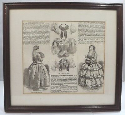 Framed Antique Victorian French Paris Ladies Fashion Print