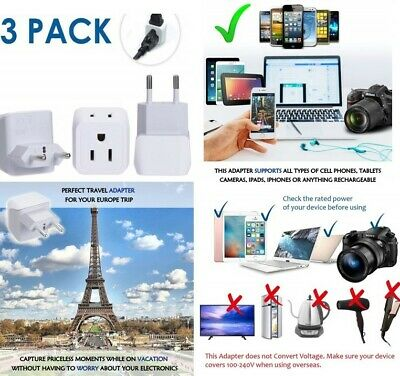 European Adapters Travel Plug Adapter Charger Dual USA taly Iceland Austria NEW