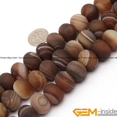 """Natural Botswana Agate Gemstone Frost Matte Rondelle Spacer Beads 15"""" Yao-Bye"""