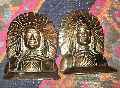 ANTIQUE 1920's 1930's CAST IRON NATIVE AMERICAN INDIAN CHIEF BOOKENDS VINTAGE