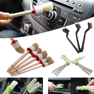 11pcs/set Car Detailing Brush Kit Boar Hair Vehicle Interior For Wheel Clean