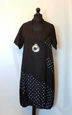 "New Italian LaGeNLooK QUIRKY Linen BOHO spot panel ""TUNIC DRESS"" elastic hem 44"""