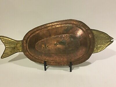 """VTG Hammered Copper Brass Fish Shaped 24"""" Covered Platter Serving Tray Tin Lined"""