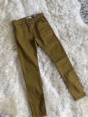 New Zara Boys Serged Skinny Jeans Pants Mustard Yellow Size 10