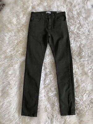 New Zara Boys Serged Skinny Jeans Pants Olive Green Size 11/12