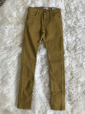 New Zara Boys Serged Skinny Jeans Pants Mustard Yellow Size 11/12