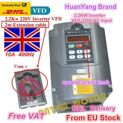 【UK/EU】2.2KW 220V VFD Variable Frequency Drive Inverter 3HP + 2M Extension Cable
