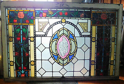 Antique Gothic Revival Leaded Stained Glass Window Saints Tudor Roses Painting