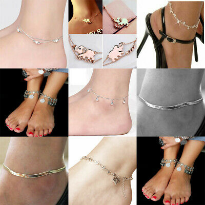 Women Girls Anklet Silver Bead Chain Ankle Bracelet Barefoot Sandal Beach Foot