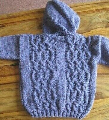 HAND KNITTED HOODED ARAN SPRING MOORLANDS HEATHER JACKET. AGED 6-12m.