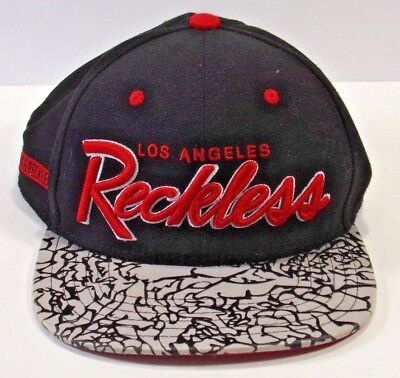 low priced f9ac4 cc023 Mens Los Angeles Young   Reckless Navy Red White Flat Brim Snapback Hat Cap