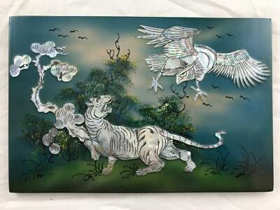 Vintage Vietnamese 'Mother of Pearl' wall plaque featuring a Tiger