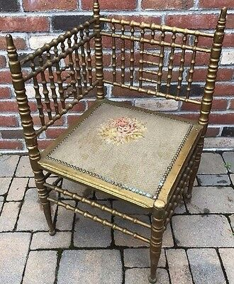 Antique Heywood Wakefield Faux Bamboo Corner Chair Petit Point Seat