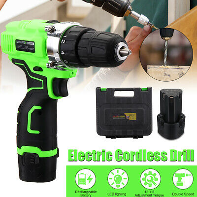 12V Cordless Drill Driver 2-Speed Screwdriver Combi Li-Ion Battery LED Worklight