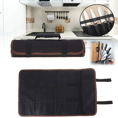 14 Pockets Chef Knife Bag Roll Carry Case Kitchen Portable Storage Pouch Brown