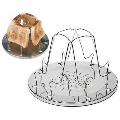 4 Slice Camping Bread Toast Tray Gas Stoves Cooker BBQ Camping Toaster Rack H3D7