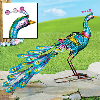 COLORFUL PEACOCK METAL Garden Wind Spinner Sculpture