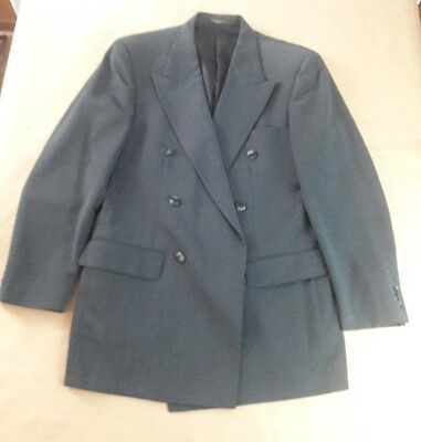 Mens Double Breast Dark Gray 100% WOOL Blazer Jacket no size, see pics please