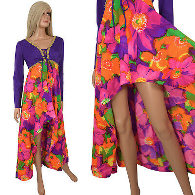 Vtg 60s Hippy Boho Maxi Dress Purple Psychedelic Floral Print High Low Fishtail