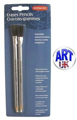 Derwent Art & Craft Eraser Pencils Double Ended With Brush (Twin Pack)