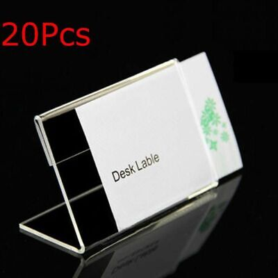 Acrylic Name Card Display Holder Label Price Sign Tag Shop Stands 20pcs 9cmx6cm