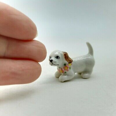 Baby Cocker Dog Hawaii Ceramic Figurine Animal Statue Miniature - CDG200
