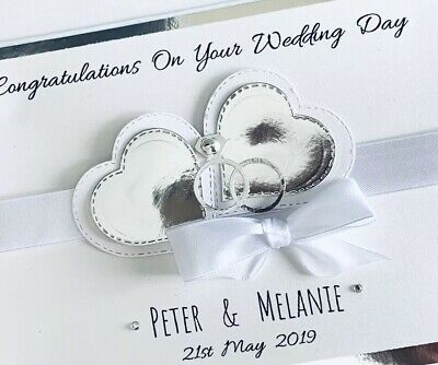 Handmade Personalised Card Wedding Day 25th Anniversary Engagement Silver Large