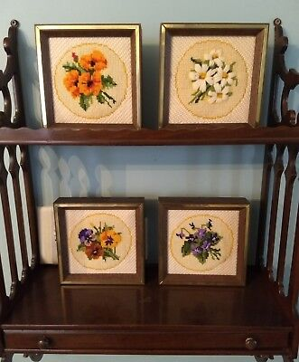 Shabby Cottage Framed Floral Needlepoint Picture Set Violet Pansy Daisy Marigold