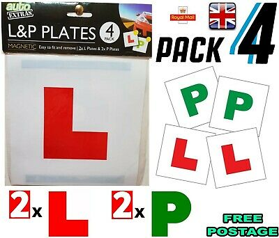 Genuine 4 Magnetic Exterior Car New Learner L Plates P Plates Secure Safe Strip