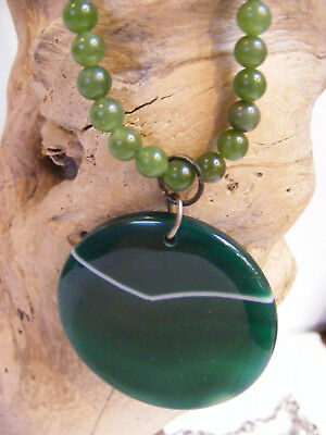 GREEN AGATE ROUND Medallion PENDANT on GREEN JADE BEAD NECKLACE Vintage
