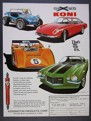 1971 Koni Shocks Ferrari Camaro Z28 Can-Am Race Car art vintage print Ad