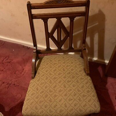 ANTIQUE Victorian Boudoir Chair - Inlaid - Wheels / Casters - Great Condition