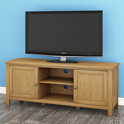 Modern Oak TV Unit Stand Solid Westwood Shelf with 2 Cabinet 2 Doors Living Room
